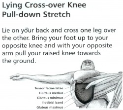 2. Lying Cross over Knee Pull Down Stretch